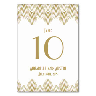 Vintage 20's Art Deco Scallop Wedding Table Number Table Cards