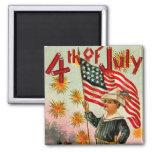 Vintage 4th of July Square Magnet