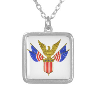 Vintage 4th of July Square Pendant Necklace