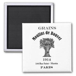 Vintage Ad Label Grains Paris 1914 Fridge Magnet
