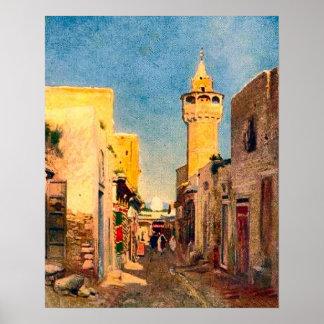 Vintage africa, North Africa, street with minaret Poster