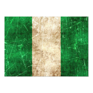 Vintage Aged and Scratched Flag of Nigeria 13 Cm X 18 Cm Invitation Card