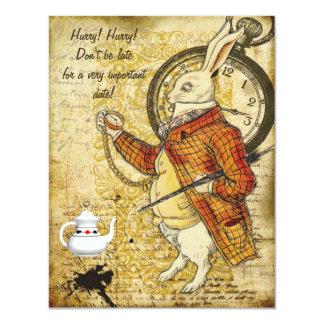 Vintage Alice in Wonderland Rabbit Baby Shower 11 Cm X 14 Cm Invitation Card