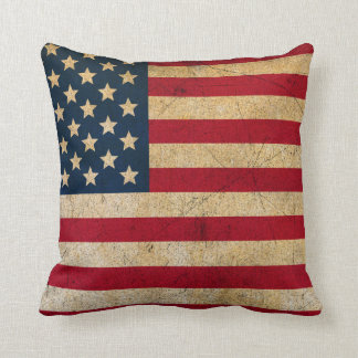 Vintage American Flag Throw Pillow Cushions