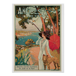 Vintage Antibes France travel ad Poster