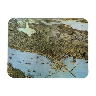 Vintage Antique Aeria Map of Seattle, Washington Rectangular Photo Magnet