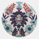 VINTAGE antique Ottoman Turkish tile TULIP Round Sticker