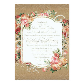 Vintage Antique Rose Floral Bouquet Formal Wedding 13 Cm X 18 Cm Invitation Card