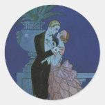 Vintage Art Deco Love Romance Newlyweds Wedding Round Sticker