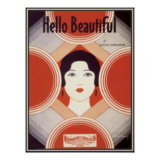 Vintage Art Deco Sheet Music Hello Beautiful Poster