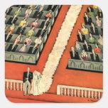 Vintage Art Deco Wedding, Bride Groom Newlyweds Square Sticker