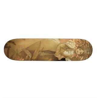 Vintage Art Nouveau Love Romance, Flirt by Mucha Skate Board Deck