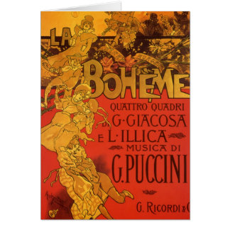 Vintage Art Nouveau Music, La Boheme Opera, 1896 Greeting Card