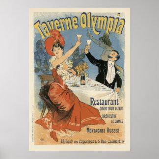 Vintage Art Nouveau, Taverne Olympia, Drinks Party Poster