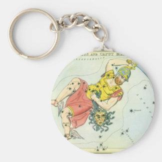 Vintage Astonomy, Perseus and Caput Medusa Basic Round Button Key Ring