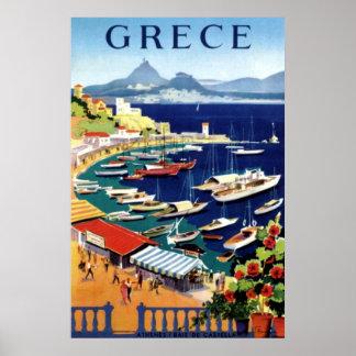 Vintage Athens Greece Travel Poster