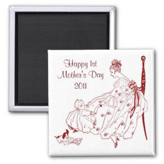 Vintage Baby 1 st. Mother's Day Fridge Magnet