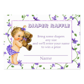 Vintage Baby Girl Baby Shower Diaper Raffle Pack Of Chubby Business Cards