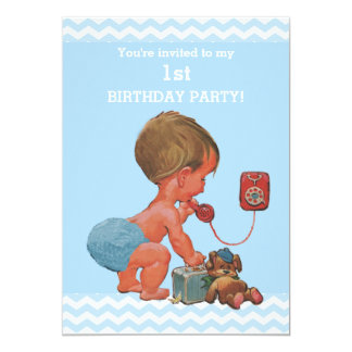 Vintage Baby on Phone Blue Chevrons 1st Birthday 13 Cm X 18 Cm Invitation Card