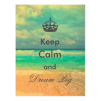 "vintage beach ""Keep Calm and Dream Big"" quote Postcard"
