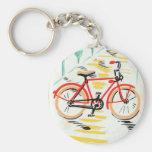 Vintage Bicycle Art Basic Round Button Key Ring
