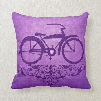 Vintage Bicycle Purple Pillow Cushion