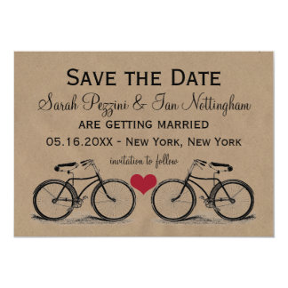 Vintage Bicycle Save the Date Wedding Cards 13 Cm X 18 Cm Invitation Card