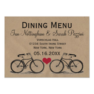 Vintage Bicycle Wedding Dining Menu Cards 11 Cm X 16 Cm Invitation Card