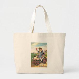 Vintage Birthday Greeting Jumbo Tote Bag