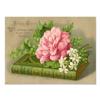 Vintage Birthday Greeting Wishes Floral Classy 17 Cm X 22 Cm Invitation Card