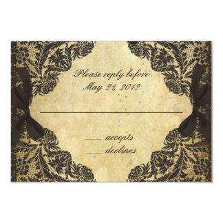 Vintage Black and Cream Lace - RSVP 9 Cm X 13 Cm Invitation Card