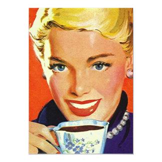 Vintage Blank Coffe Tea Party Retro Gal Invitation