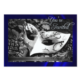 Vintage Blue Silk Masquerade Ball Invitation
