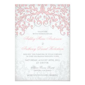 Vintage Blush Pink Grey Floral Wedding Invitation
