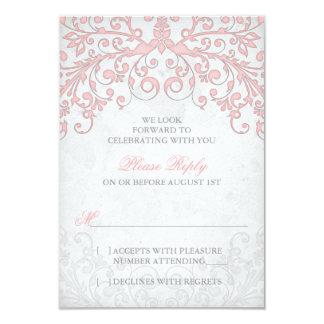 Vintage Blush Pink Grey Floral Wedding RSVP 9 Cm X 13 Cm Invitation Card