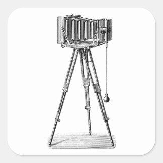Vintage Camera - Antique Cameras Photography Black Square Sticker