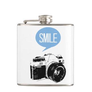Vintage Camera, Smile Text Balloon, Photographer Hip Flasks