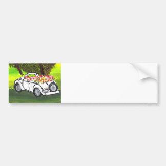 Vintage Car and Spring Flowers (K.Turnbull Art) Bumper Sticker