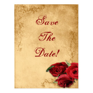 Vintage Caramel Brown & Rose Save The Date Wedding Postcard