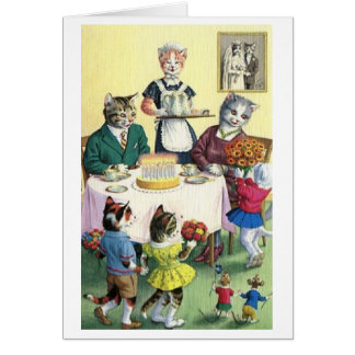 Vintage Cat Family Mother Birthday Card