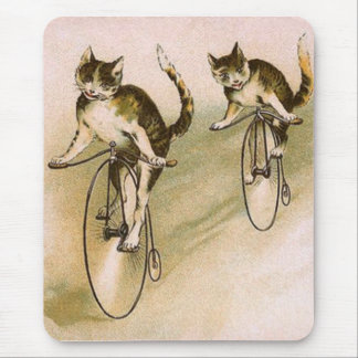 Vintage Cats on Bikes Mouse Pad