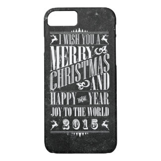 Vintage Chalkboad Christmas & NewYear iPhone 7 Case