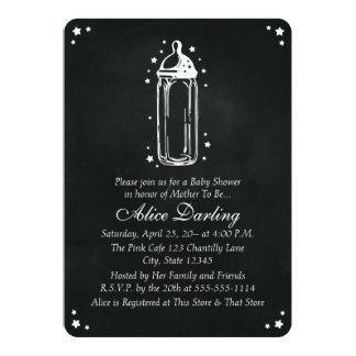 Vintage Chalkboard Baby Bottle Baby Shower 13 Cm X 18 Cm Invitation Card