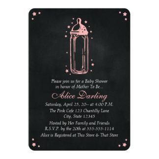 Vintage Chalkboard Pink Baby Bottle Baby Shower 13 Cm X 18 Cm Invitation Card