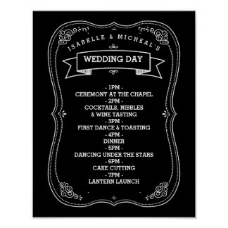 Vintage Chalkboard Wedding Day of Schedule Poster