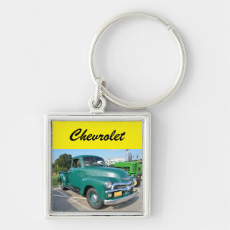 Vintage Chevrolet Truck Silver-Colored Square Key Ring