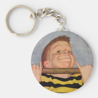 Vintage Child, Boy Doing Chin Ups, Exercise Sports Basic Round Button Key Ring