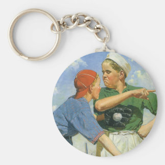 Vintage Children and Sports, Boys Playing Baseball Basic Round Button Key Ring