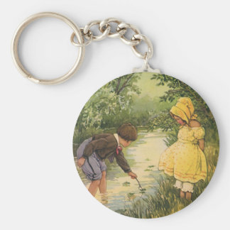 Vintage Children, Boy and Girl Playing by Creek Basic Round Button Key Ring