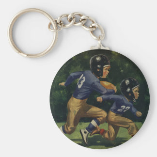 Vintage Children, Boys Playing Football, Sports Basic Round Button Key Ring